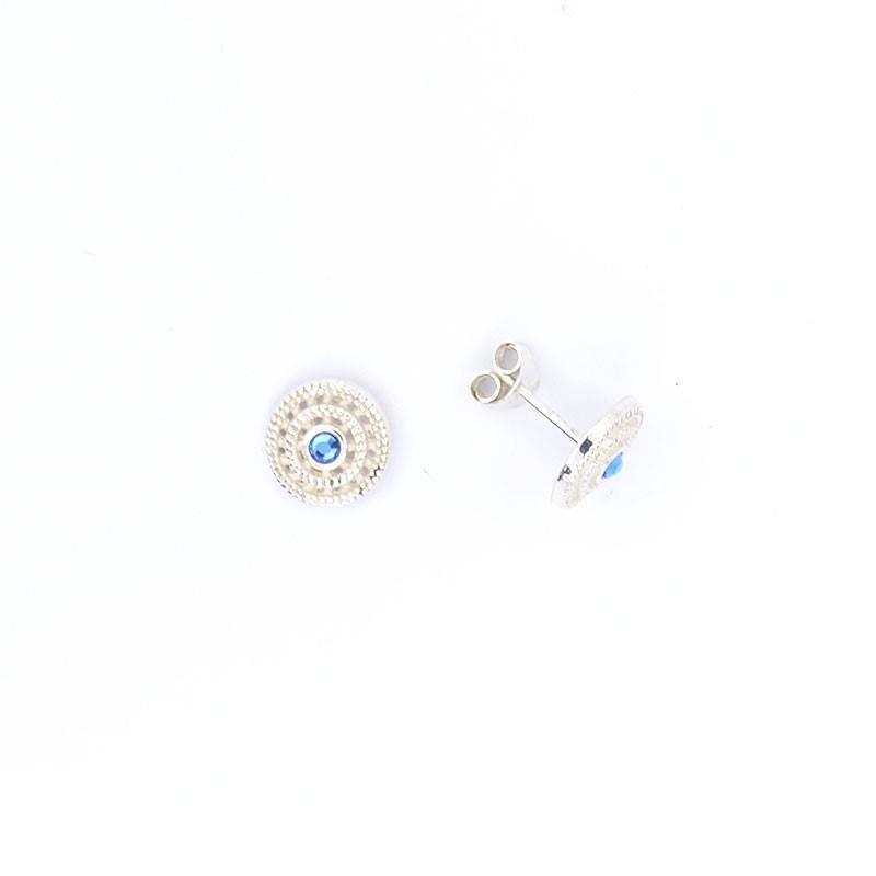 Pendientes de Plata 925 Ensaimada Azul 10mm