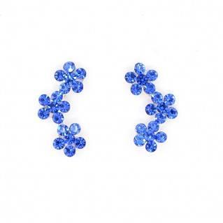 Pendientes de Plata Triple Flor Azul