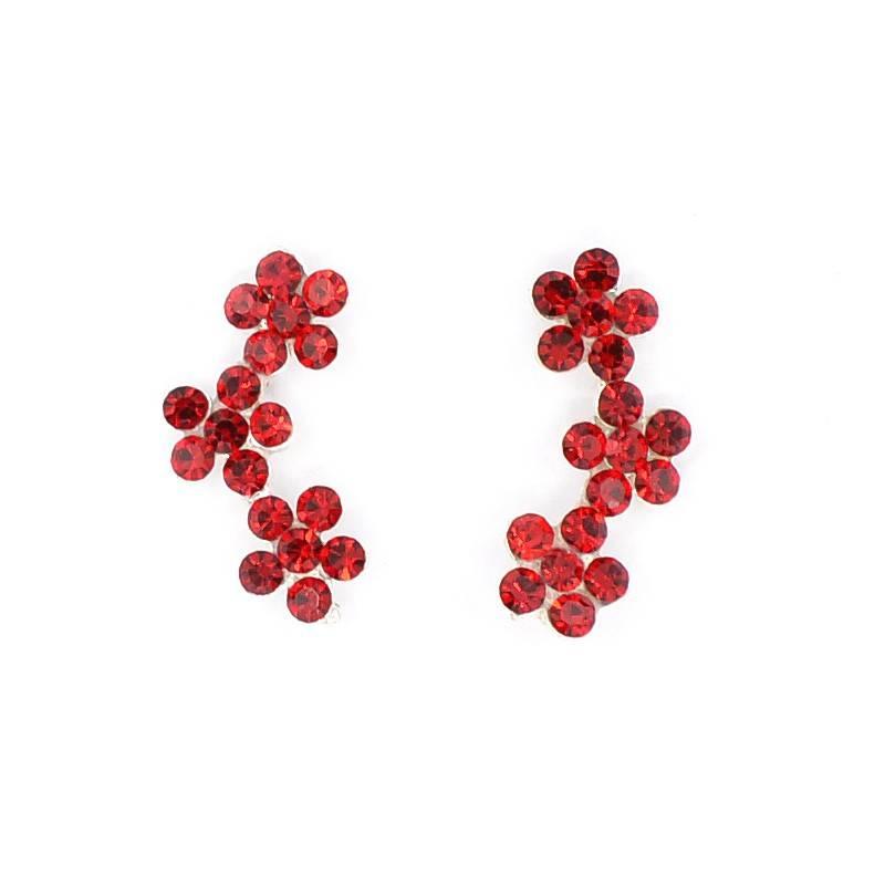 Pendientes de Plata Triple Flor Roja