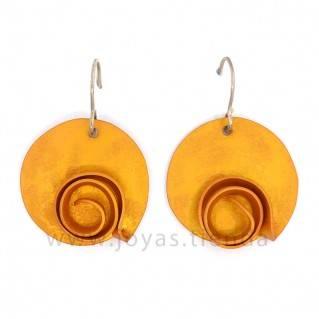 Pendientes Aluminio Círculo Espiral Amarillos