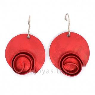 Pendientes Aluminio Círculo Espiral Rojos