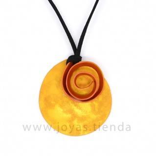 Collar Aluminio Círculo Espiral Amarillo