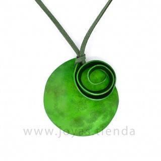 Collar Aluminio Círculo Espiral Verde