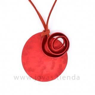Collar Aluminio Círculo Espiral Rojo