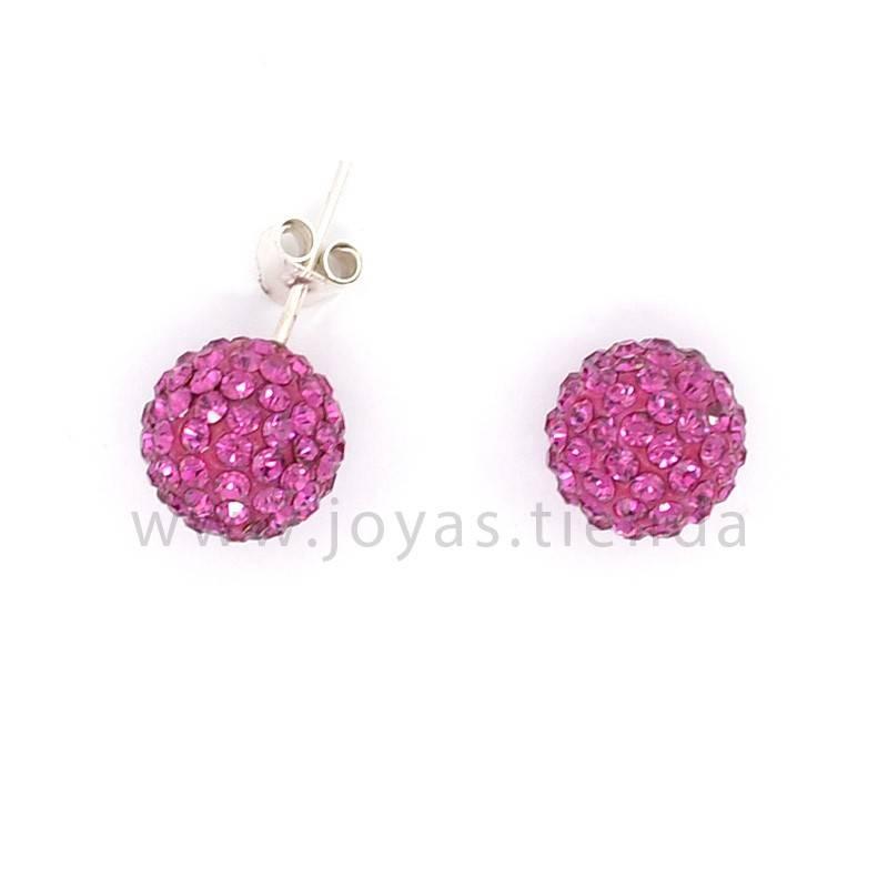 Pendientes de Plata 925 Bola Cristales Rosas 10mm