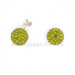Pendientes de Plata 925 Bola Cristales Verdes 10mm