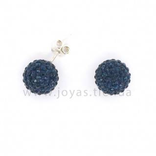 Pendientes de Plata 925 Bola Cristales Azules 10mm