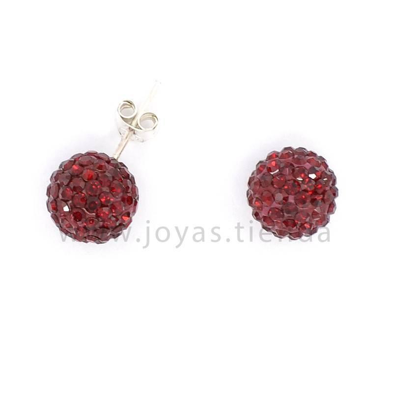 Pendientes de Plata 925 Bola Cristales Rojos 10mm
