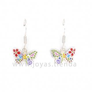 Pendientes de Plata 925 Mariposa Colores