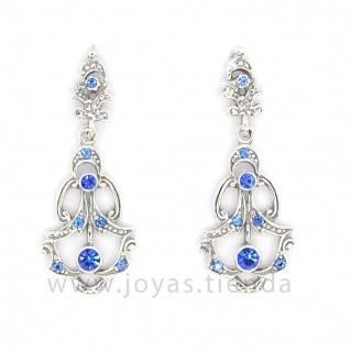 Pendientes de Plata 925 Isabelinos Cristales Zafiro Azules