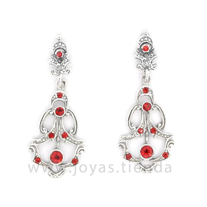 Pendientes de Plata 925 Isabelinos Cristales Zafiro Rojos