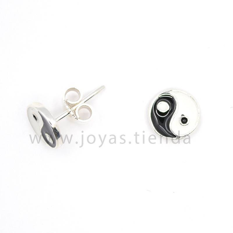 Pendientes de Plata 925 Yin Yang 9mm