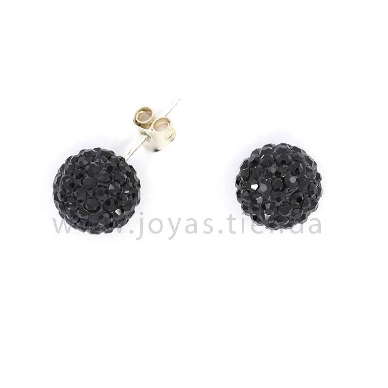 Pendientes de Plata 925 Bola Cristales Negros 10mm
