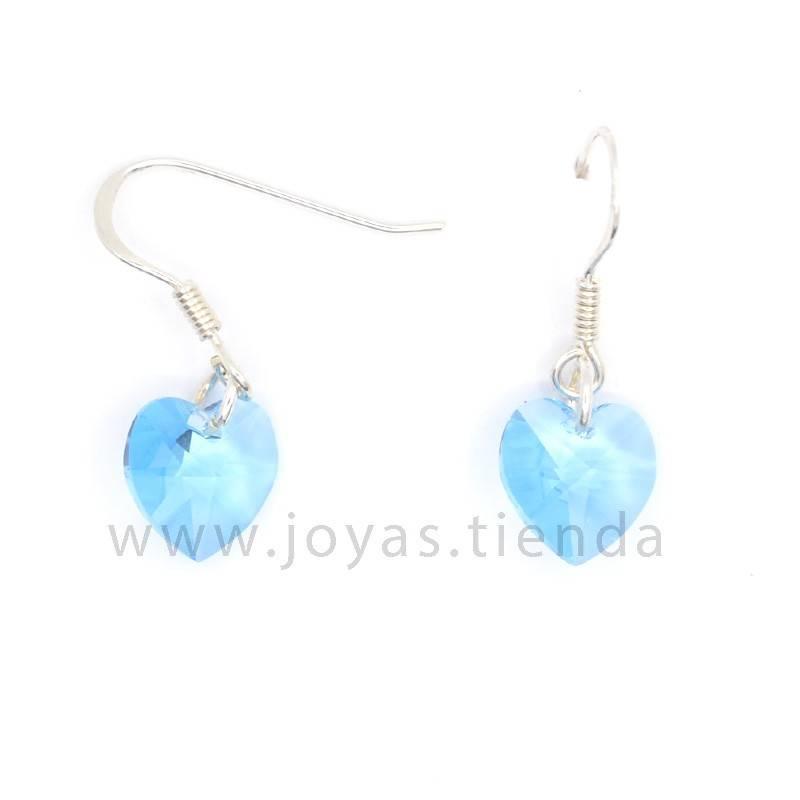Pendientes de Plata 925 Swarovski Corazón Azul