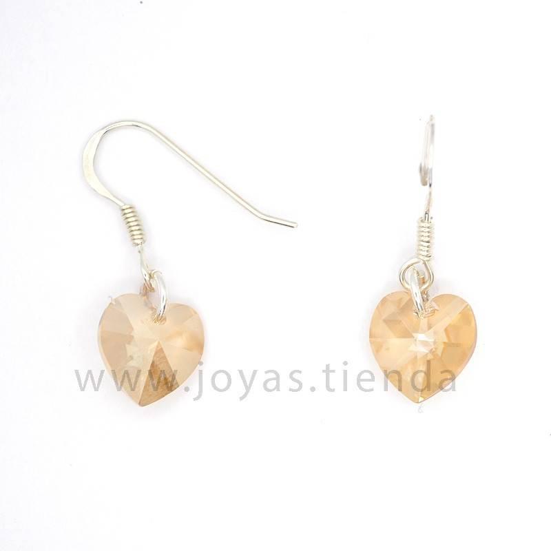 Pendientes de Plata 925 Swarovski Corazón Marrón