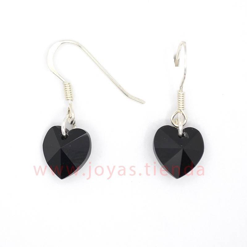 Pendientes de Plata 925 Swarovski Corazón Negro