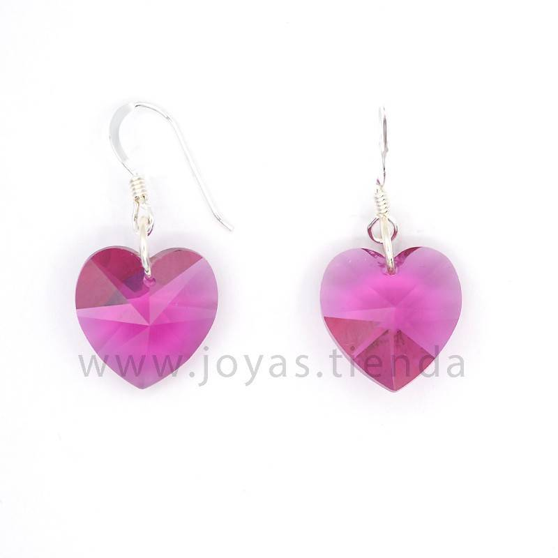 Pendientes de Plata 925 Swarovski Corazón Rosa