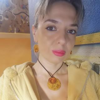 Collar Aluminio Círculo Espiral Amarillo y pendientes espiral círculo amarillo a juego