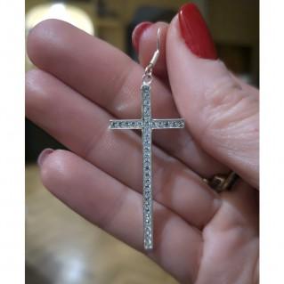 Pendientes de Plata 925 Cruz Blanca Swarovski detalle