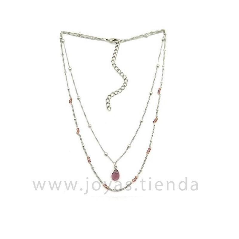 Collar Dina Silver Burdeos