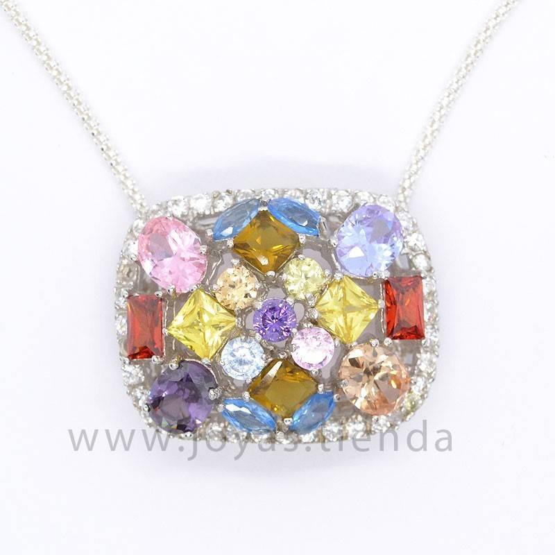 Colgante de Plata Rectangular con Cristales Multicolores detalle