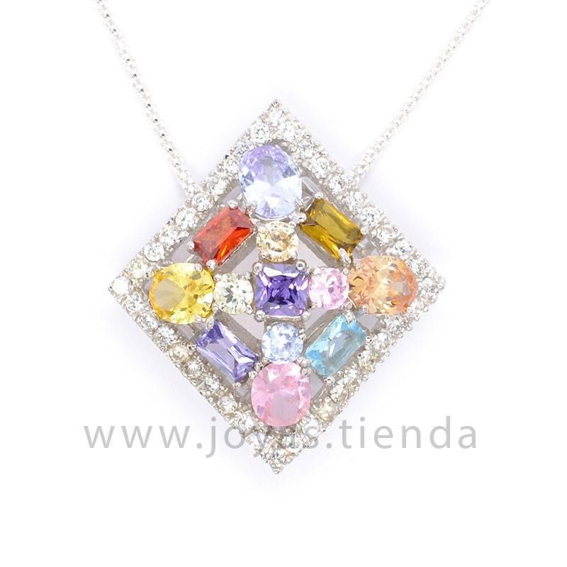 Colgante de Plata Rombo con Cristales Multicolores detalle