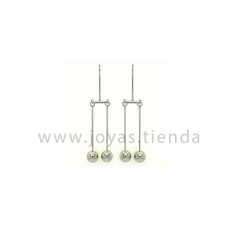 Pendientes de péndulo bolas en acero chapado plata