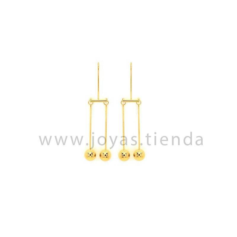 Pendientes de péndulo bolas en acero chapado oro