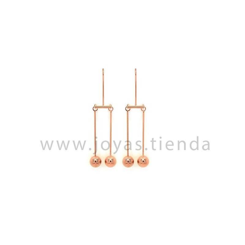 Pendientes de péndulo bolas en acero chapado rosa