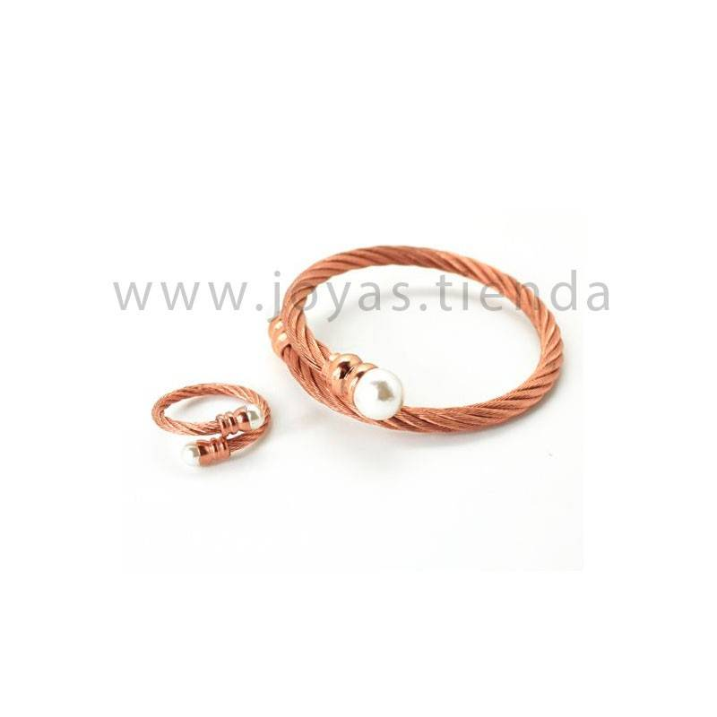 Juego de pulsera y anillo en acero chapado rosa con perla