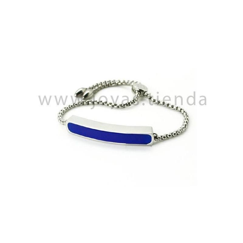 Pulsera en acero barra cristal azul
