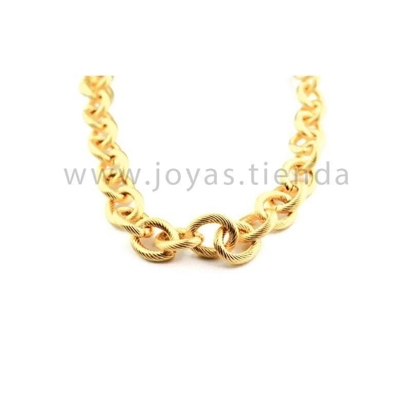 Cadena de eslabones acero chapado color oro