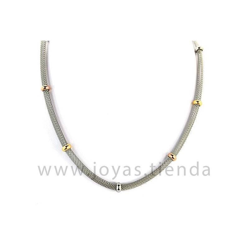 Cadena de malla con anillos tricolores en acero
