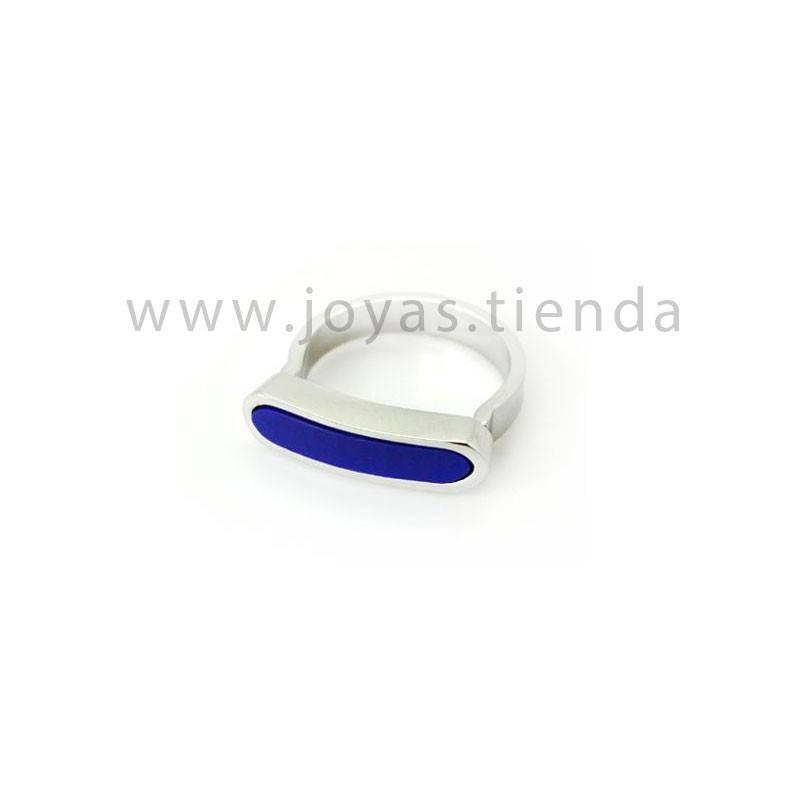 Anillo barra acero con cristal azul