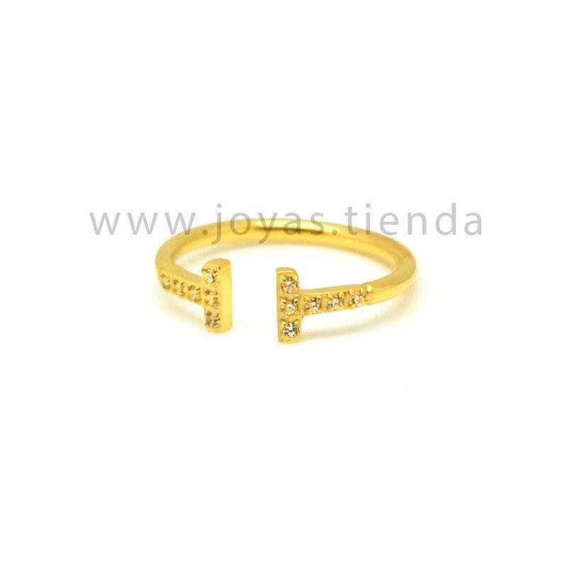 Anillo abiero básico con circonitas acero chapado color oro