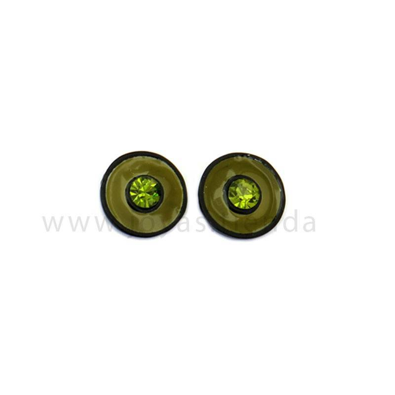 Pendientes Multi Redondos Black Verdes