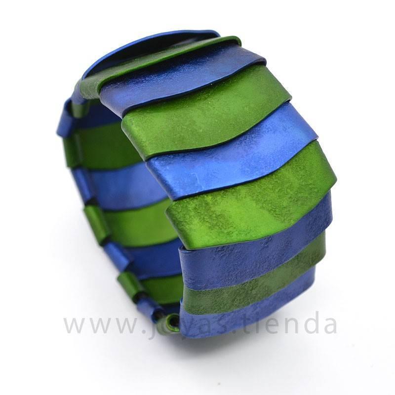 Pulsera de aluminio azul y verde