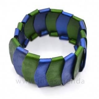 Pulsera de aluminio azul y verde detalle