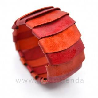 Pulsera de aluminio rojo y naranja