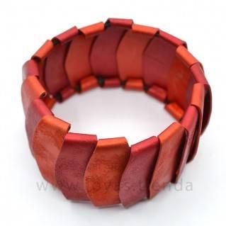 Pulsera de aluminio rojo y naranja detalle