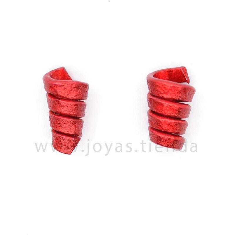 Pendientes espiral rojos