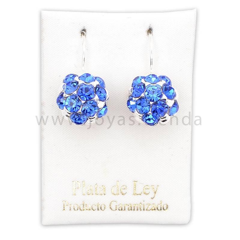 Pendientes de Plata 925 Bola Cristales Azules