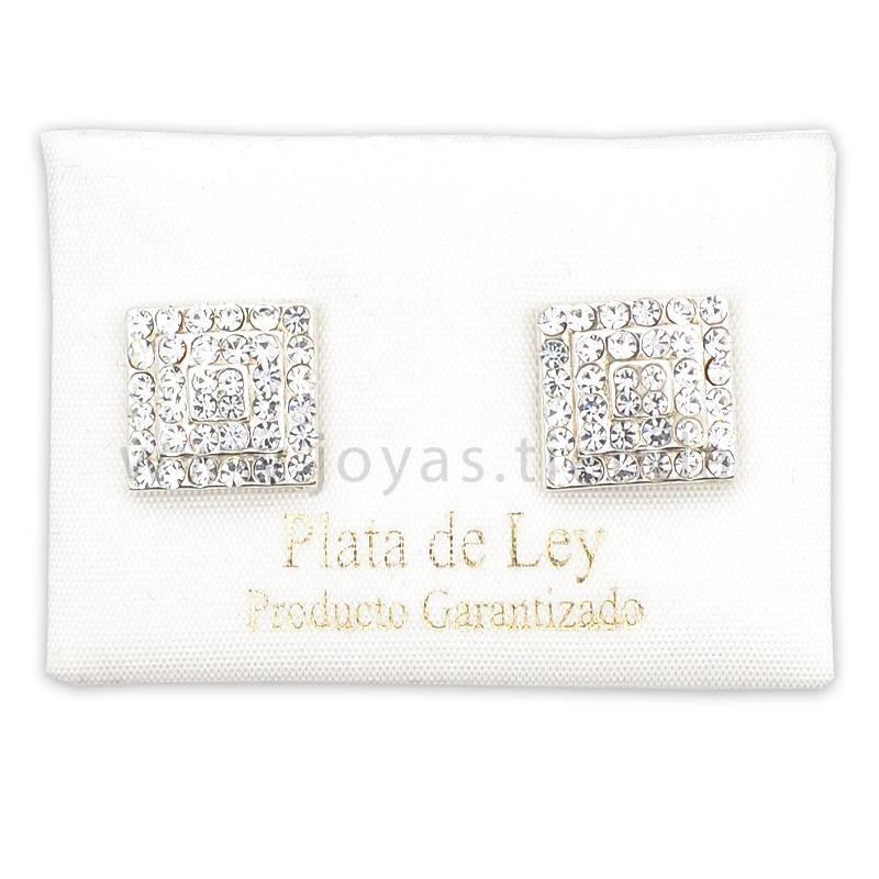 Pendientes de Plata 925 Cuadrados Cristales Blancos