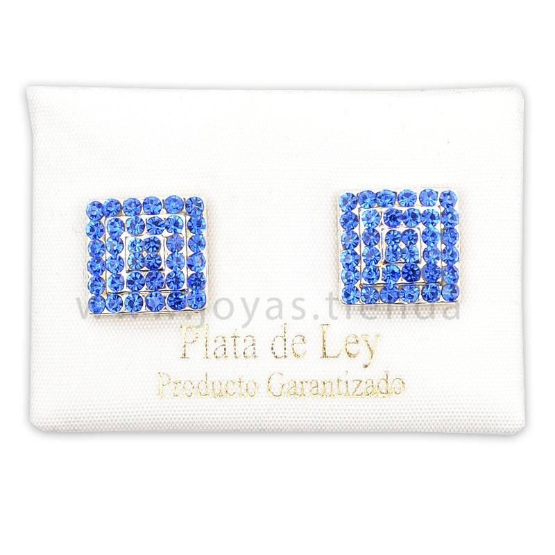 Pendientes de Plata 925 Cuadrados Cristales Azules