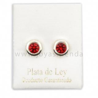 Pendientes de Plata 925 redondos rojos 8mm