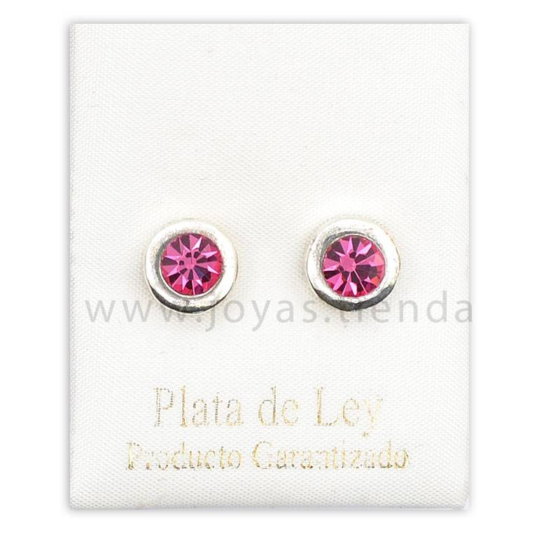 Pendientes de Plata 925 redondos rosas 8mm