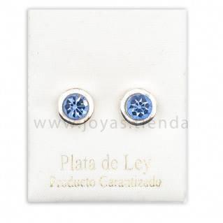 Pendientes de Plata 925 Redondos Azul Claro 8mm