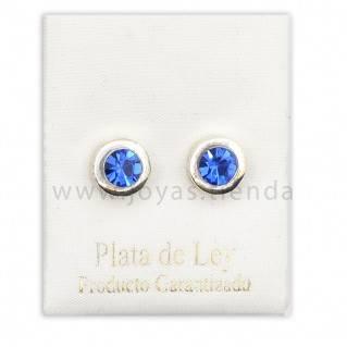 Pendientes de Plata 925 Redondos Azules 8mm