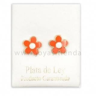 Pendientes de Plata 925 Flor Naranja 10mm