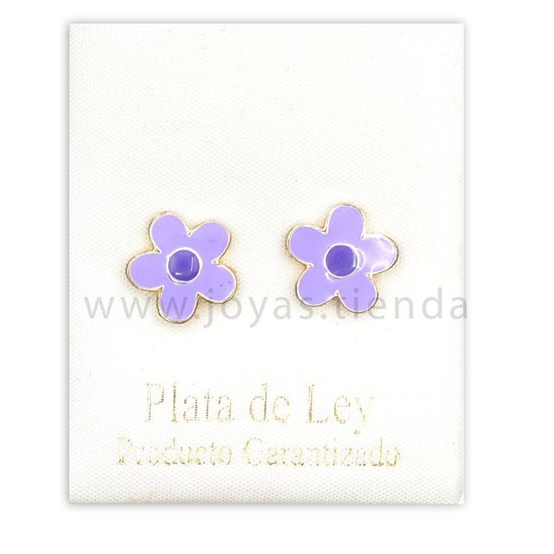 Pendientes de Plata 925 Flor Lila 10mm